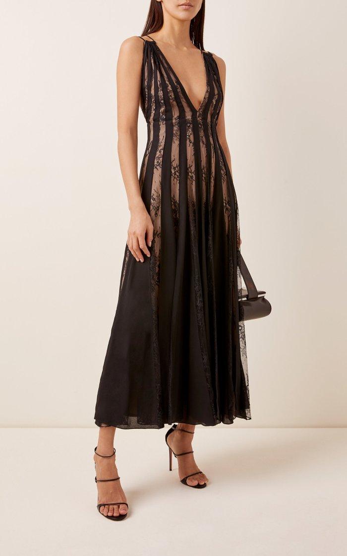 Lace-Paneled Pleated Chiffon Midi Dress