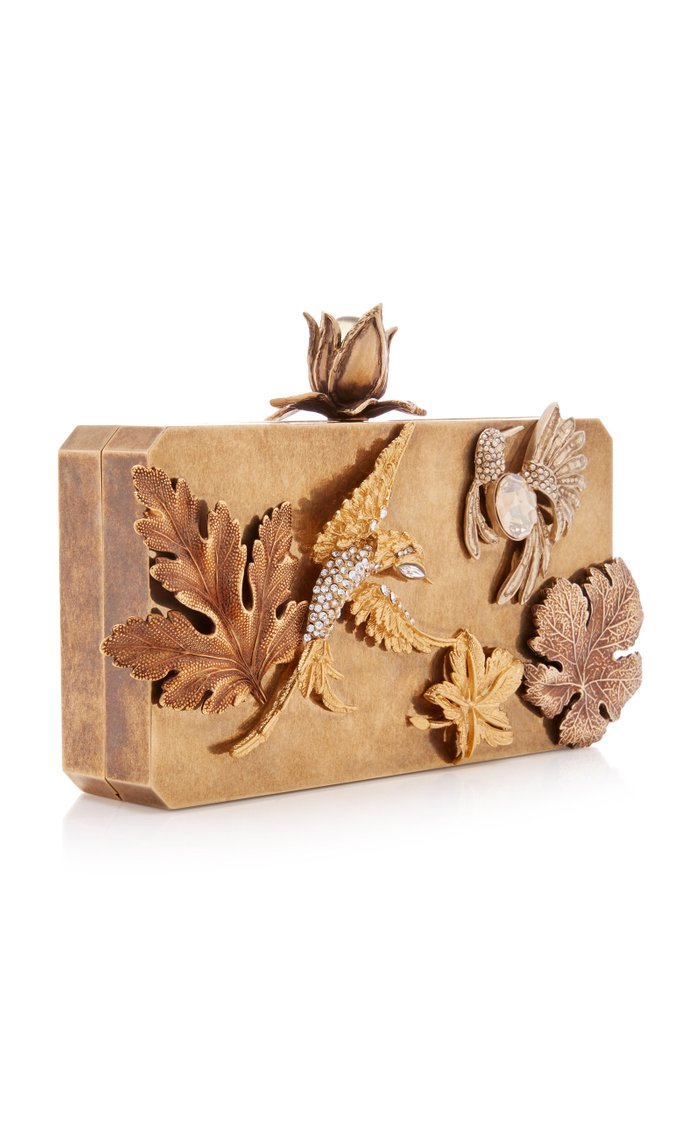 Crystal Love Birds Embellished Metal Clutch