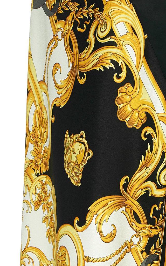 Printed Silk-Satin Midi Skirt