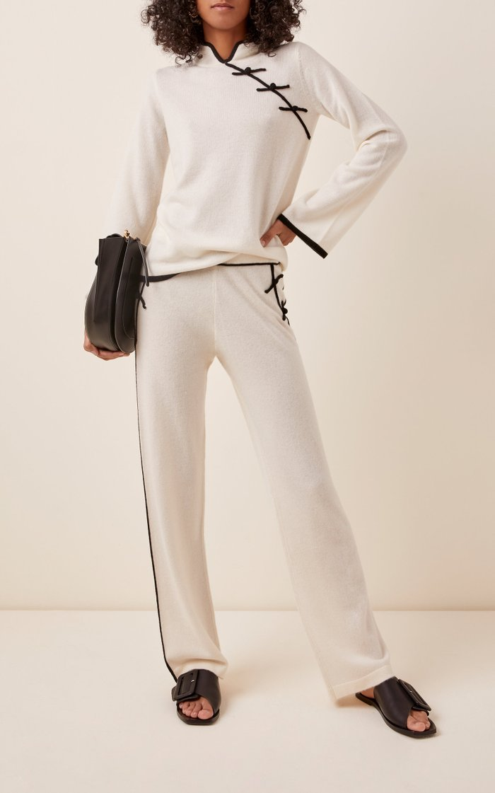 Pallas Embroidered Cashmere Wide-Leg Pants
