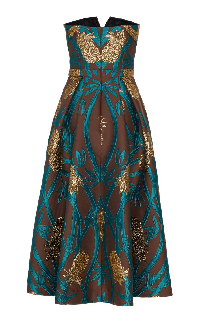 Pineapple Embroidered Jacquard Midi Dress