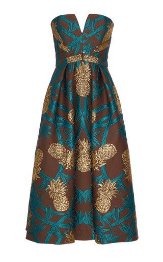 Pineapple Embroidered Jacquard Midi Dress