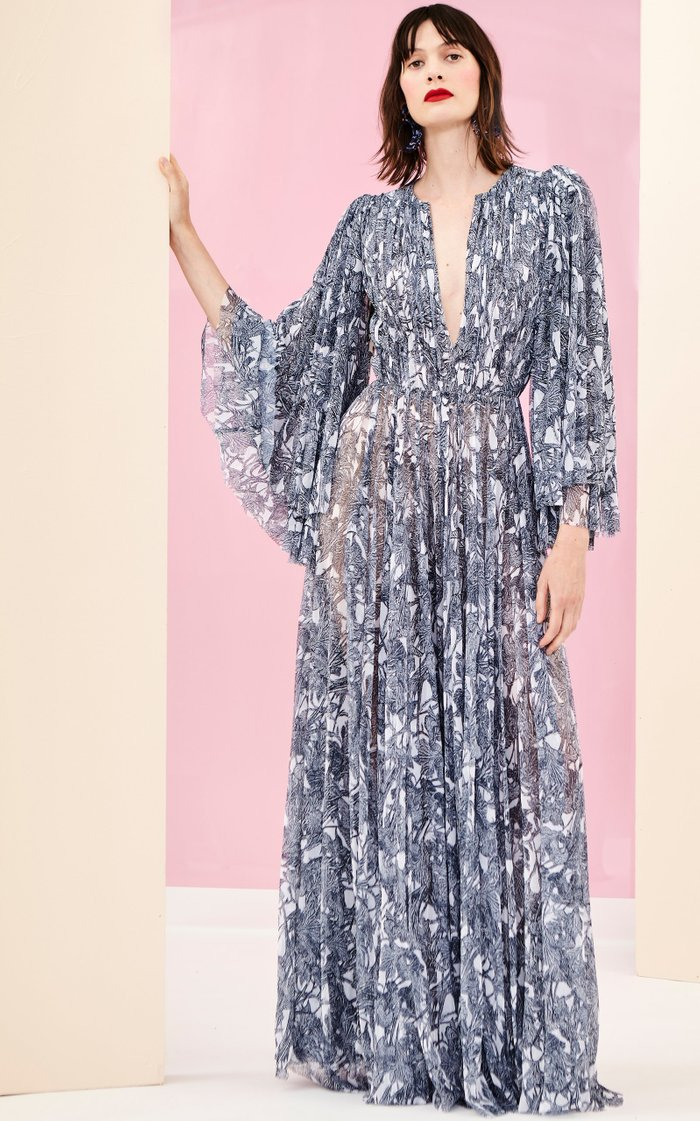 Patterned Pleat-Accented Silk Gown
