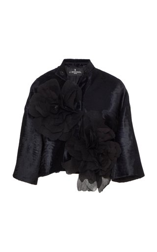 Floral-Appliqued Broadtail Cropped Jacket