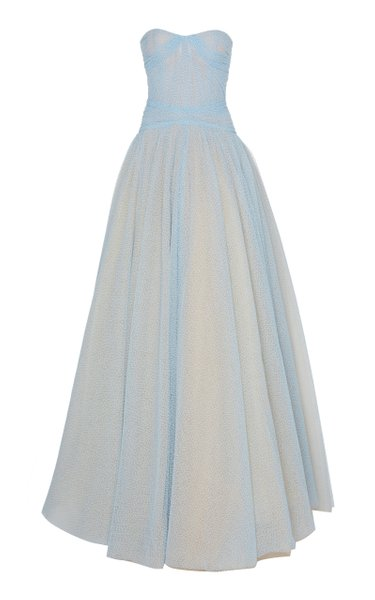 Embroidred Tulle Strapless Gown