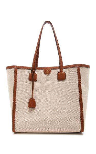 Antibes Leather-Trimmed Canvas Tote