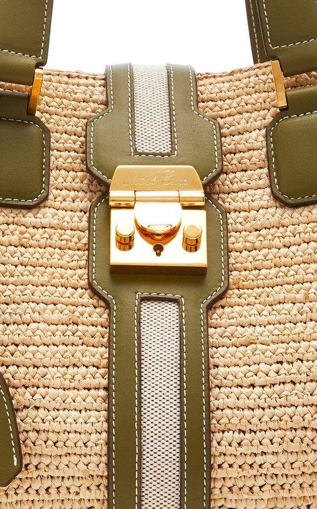 Riviera Medium Leather-Trimmed Raffia Tote