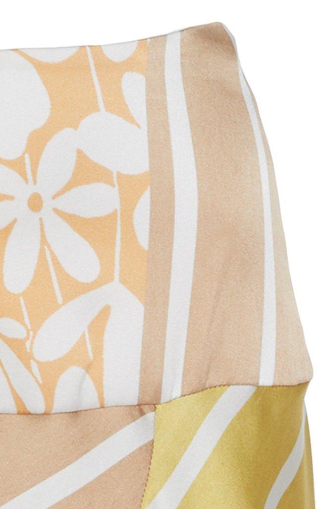 Faustine Printed Silk-Satin Midi Skirt