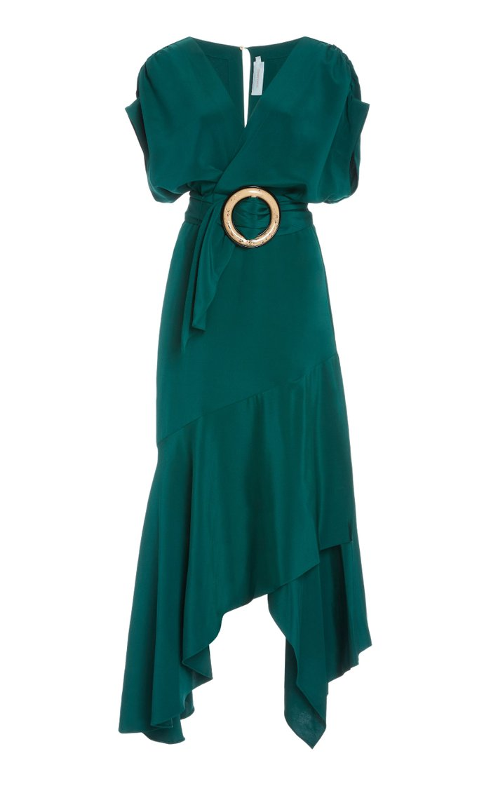 M'O Exclusive Protea Belted Wrap-Effect Silk-Blend Midi Dress