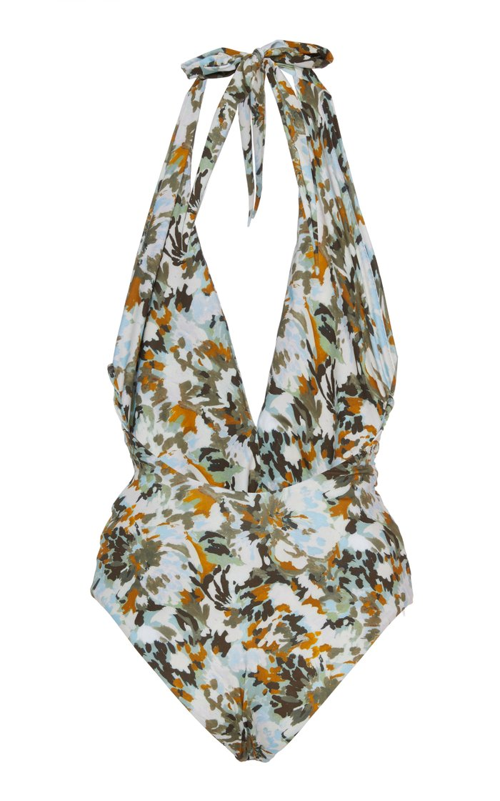 Germain Belted Floral-Print Swimsuit