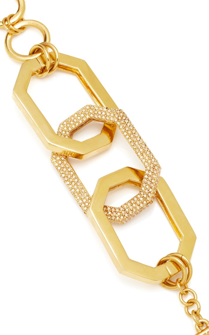Chain-Link Gold-Tone And Pavé Crystal Bracelet