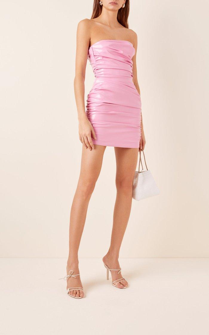Exclusive Harris Ruched Vinyl Mini Dress
