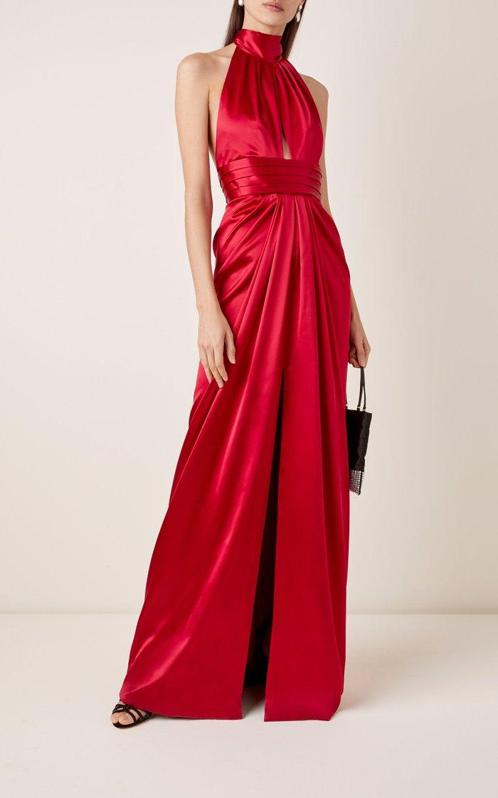 Draped Silk-Satin Halterneck Gown