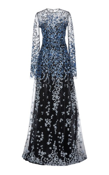 Sequined-Embroidered Mesh Gown