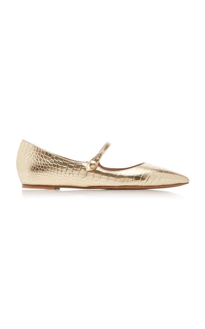 Hermione Metallic Croc-Embossed Leather Flats