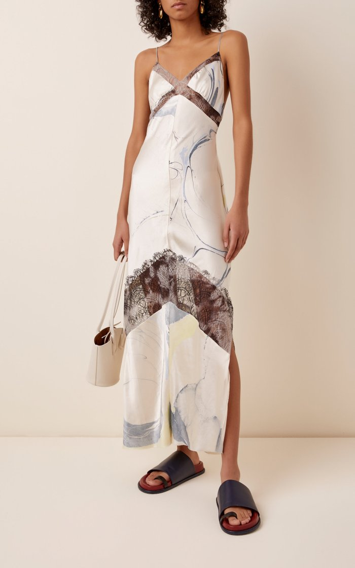 Lace-Trimmed Printed Satin Midi Dress