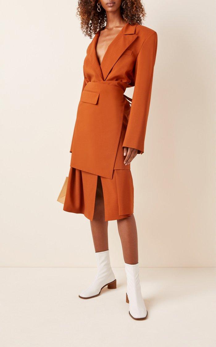 Wrap-Effect Wool Midi Dress