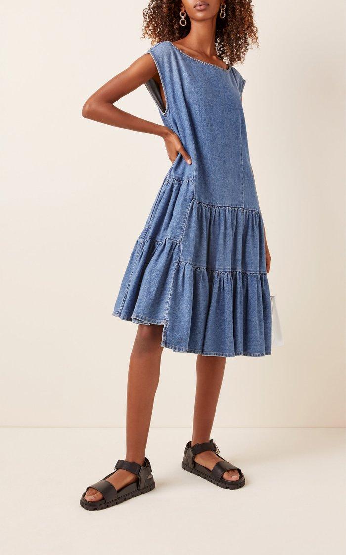 Oversized Tiered Denim Dress