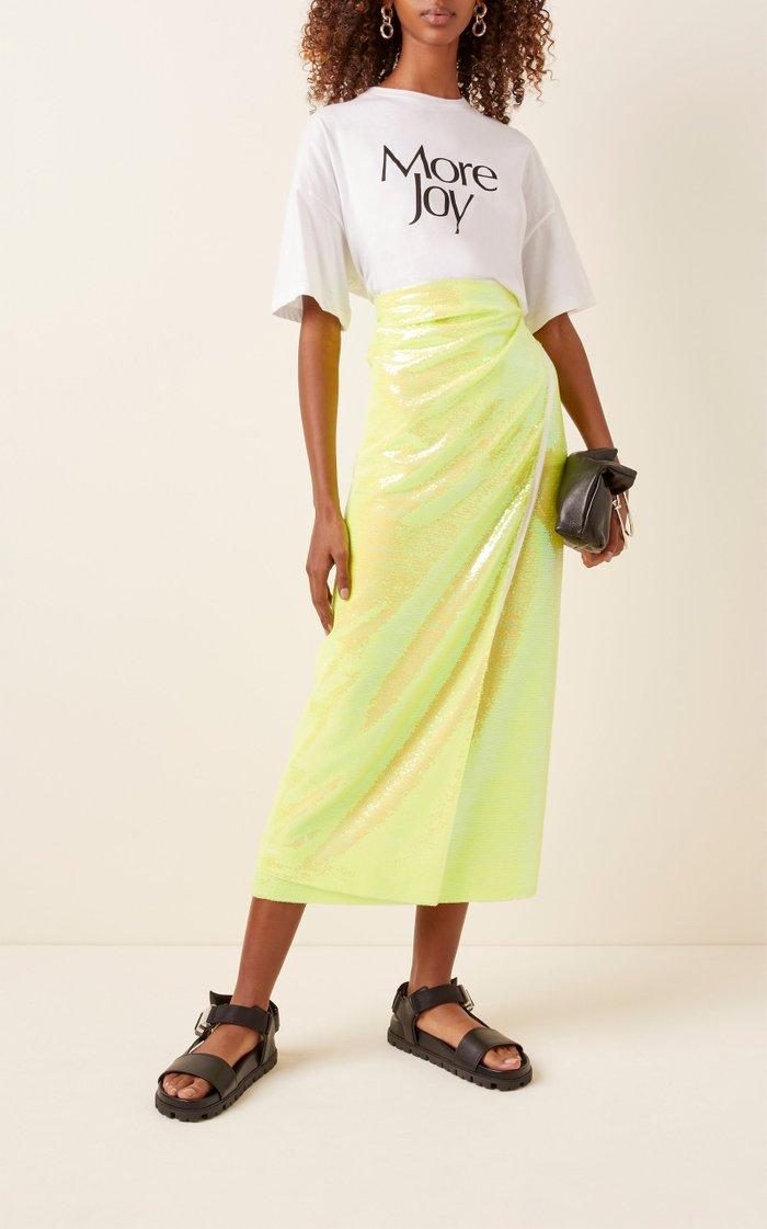 Sequined Chiffon Midi Wrap Skirt