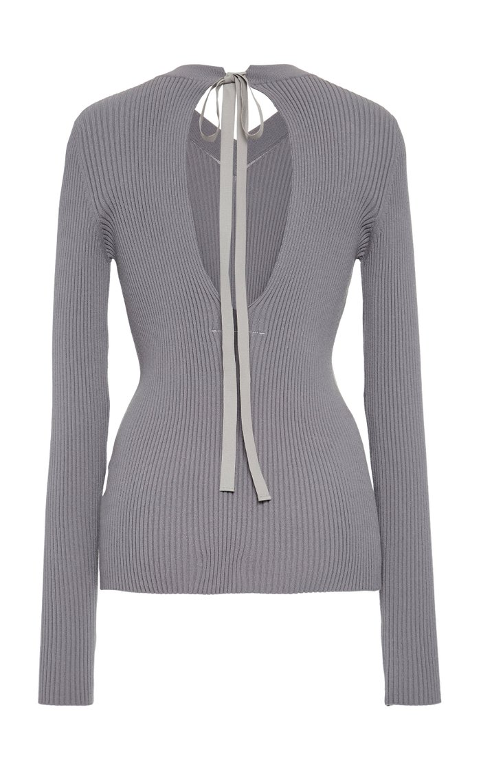 Ribbed Tie-Detailed Sweater
