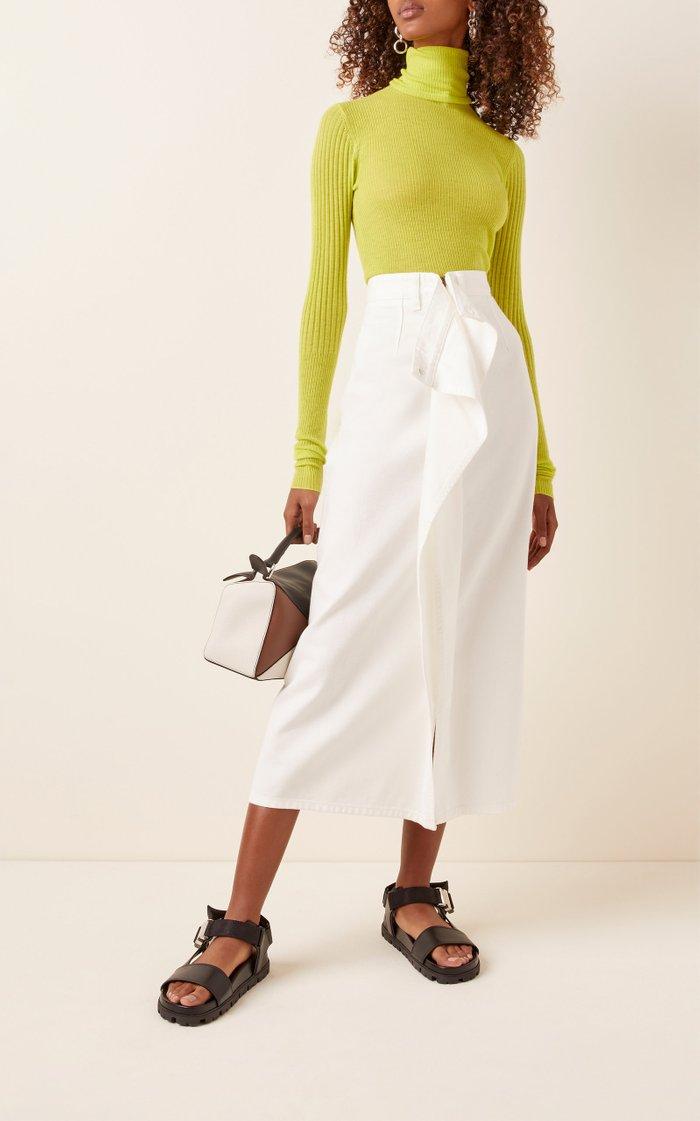 Draped Denim Midi Skirt