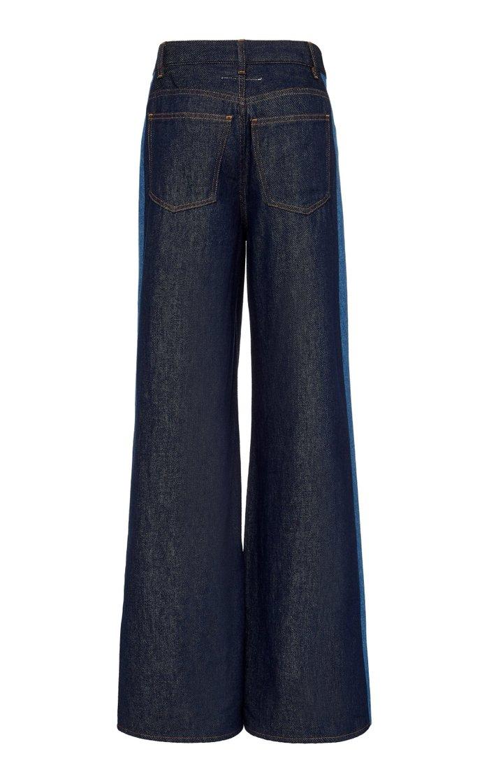 Two-Tone Rigid High-Rise Wide-Leg Jeans