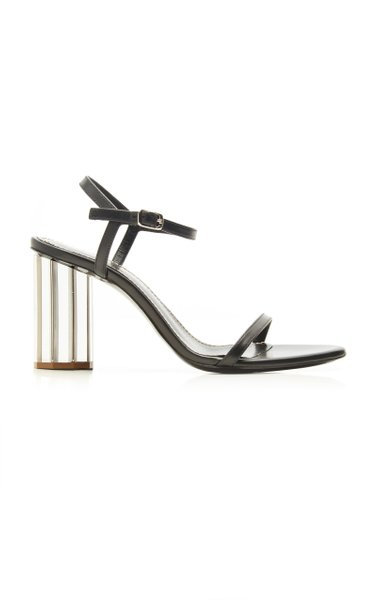 Leather Mirrored Block Heel Sandals