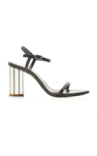 Leather Mirrored Block Heel Sandals