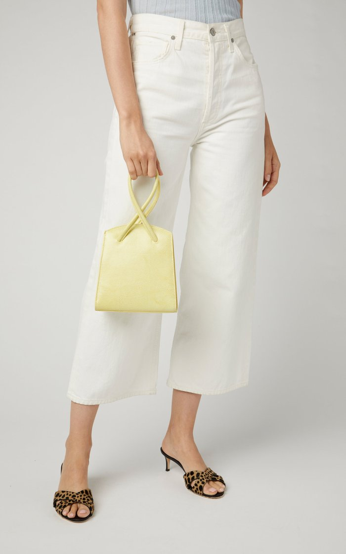 Twisted Wristlet Lizard-Effect Leather Tote