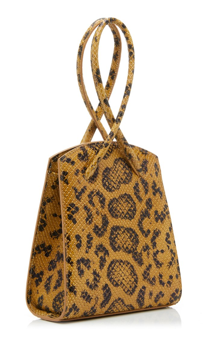 Twisted Wristlet Printed Lizard-Effect Leather Tote