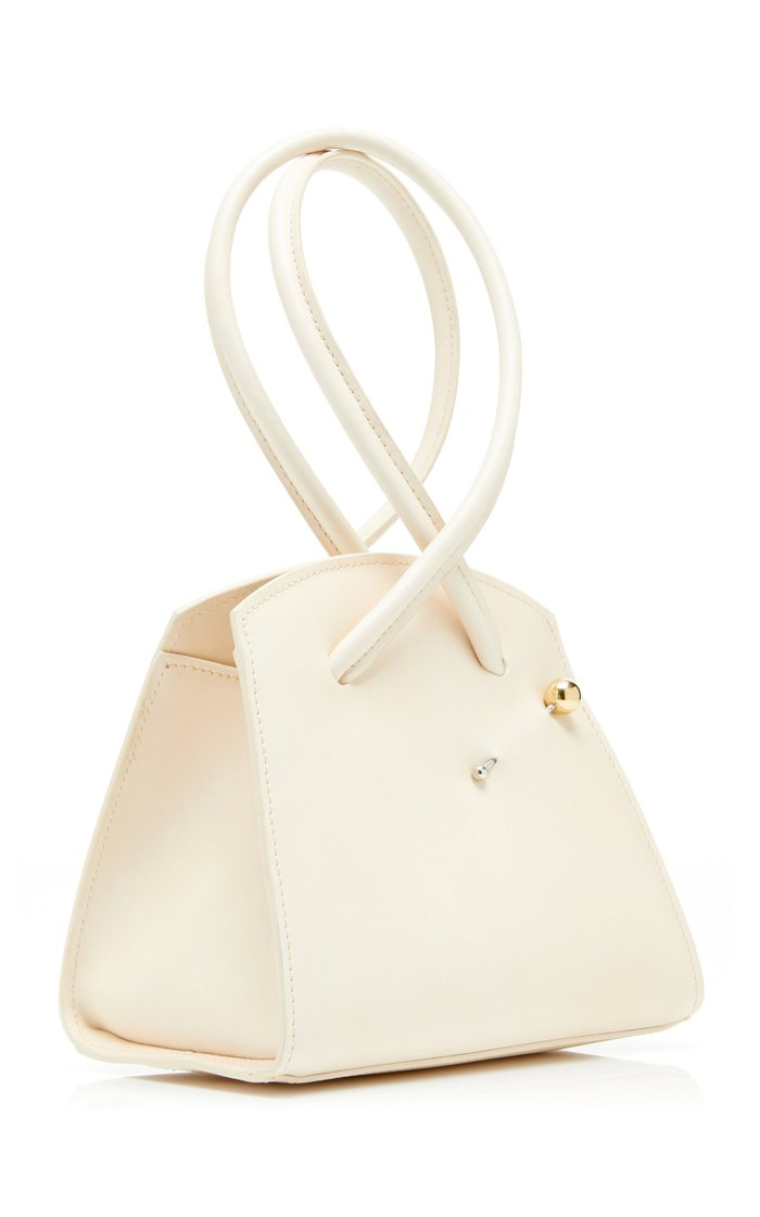 Twisted Triangle Embellished Leather Tote
