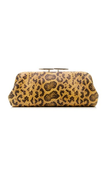 Oyster Printed Lizard-Effect Leather Clutch