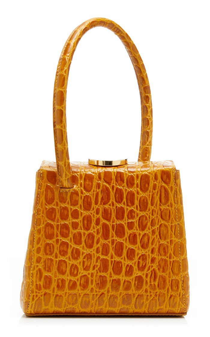 Mademoiselle Croc-Effect Leather Top Handle Bag