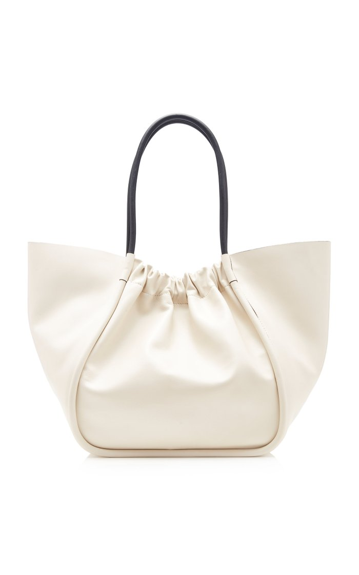 Ruched Leather Tote