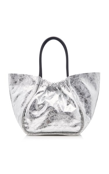 Ruched Metallic Leather Tote Bag