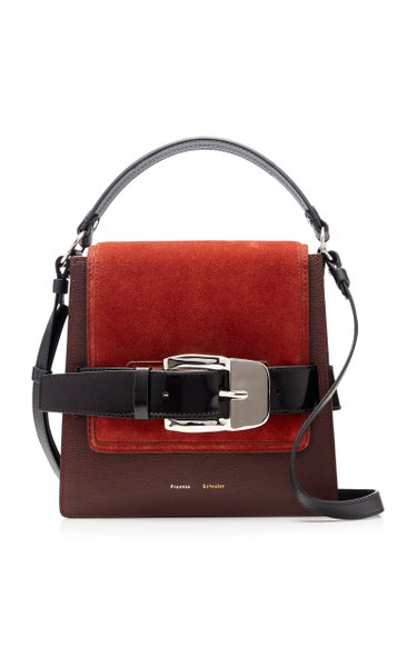 Buckle Trapeze Suede-Paneled Leather Bag