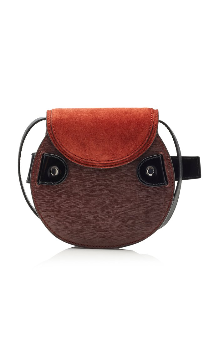 Buckle Mini Suede-Paneled Leather Crossbody Bag