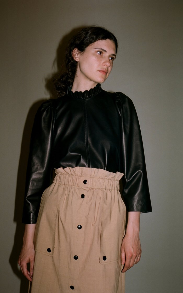 Ruffled Leather Top