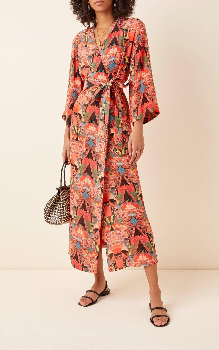 Wrap-Effect Broadcloth Midi Dress