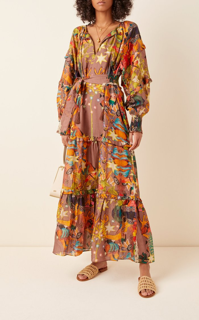 Khuyana Printed Cotton-Silk Dress