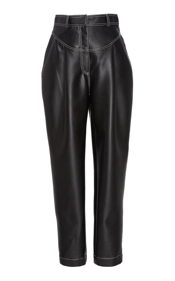 Cropped Faux Leather Tapered Pants
