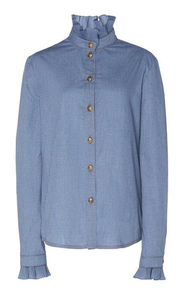 Ruffled Cotton-Chambray Shirt