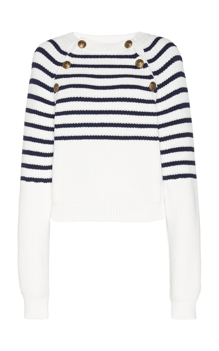 Striped Ribbed-Knit Sweater