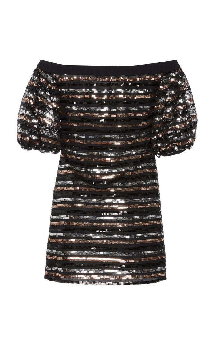 Off-The-Shoulder Sequined Tulle Mini Dress