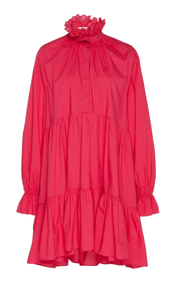 Ruffled Broderie Anglaise-Trimmed Cotton Mini Dress