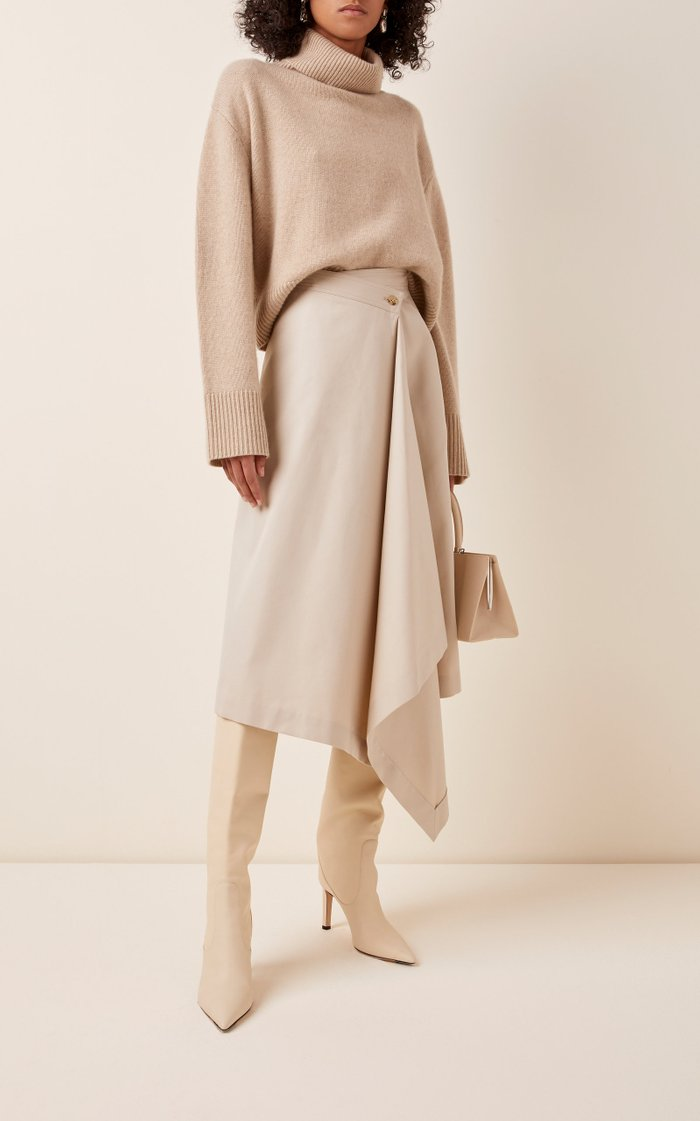 Asymmetric Wrap-Effect Crepe Midi Skirt