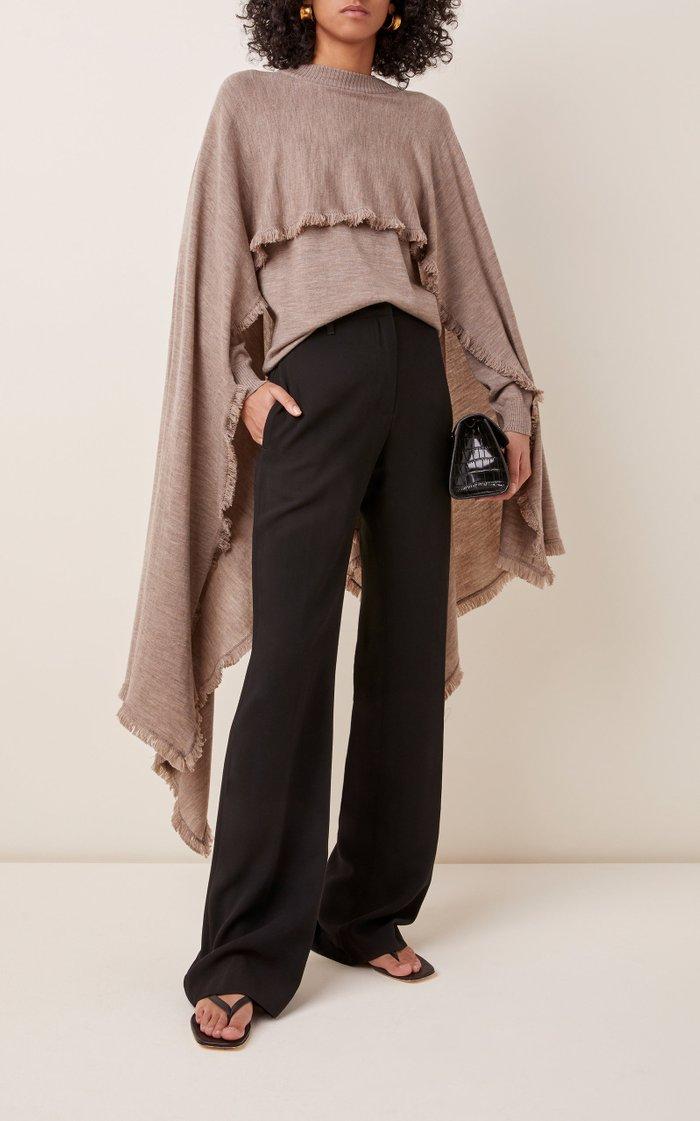 Ruffled Cape-Effect Wool Sweater