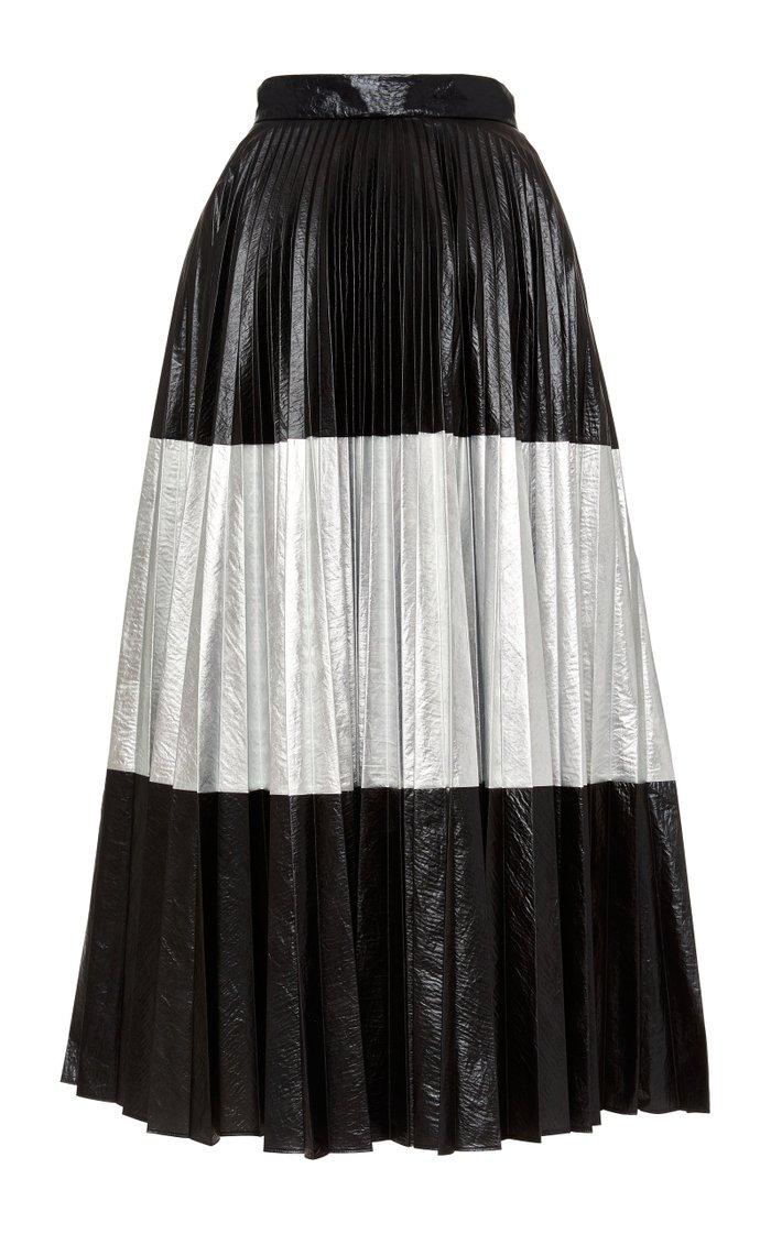 Two-Tone Pleated Laminated Midi Skirt