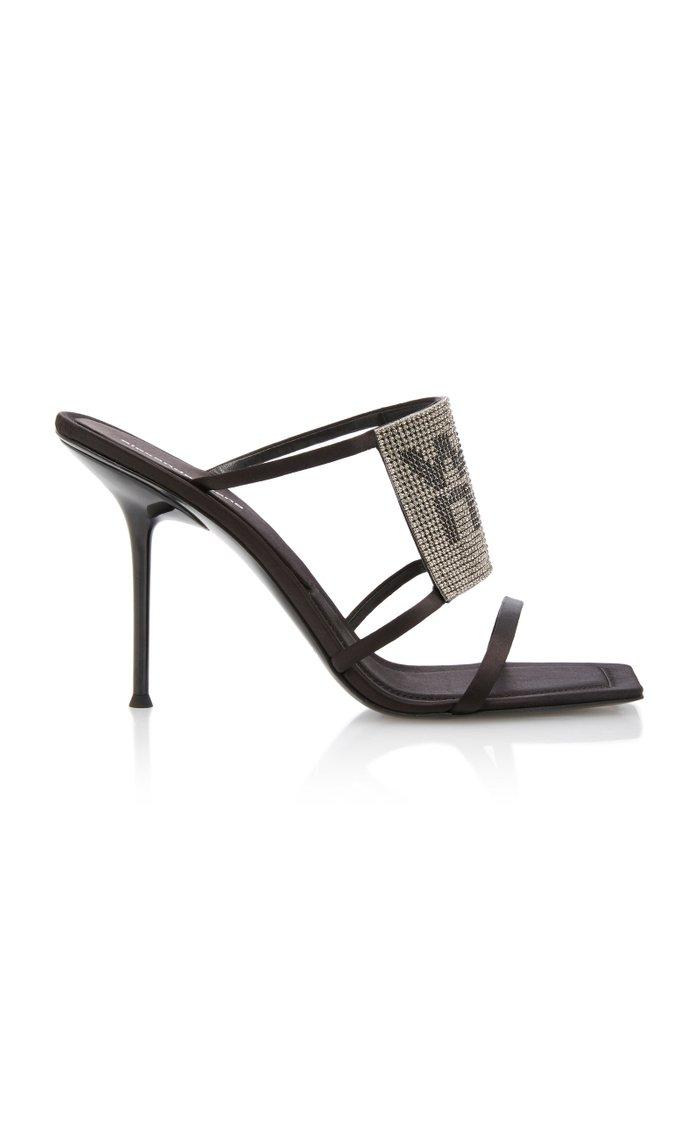 Julie Crystal-Embellished Satin Sandals