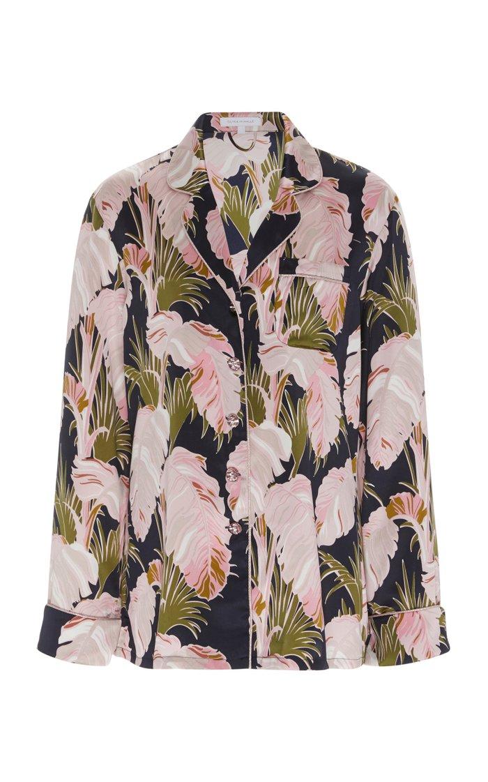 Lila Floral-Print Silk-Satin Pajamas